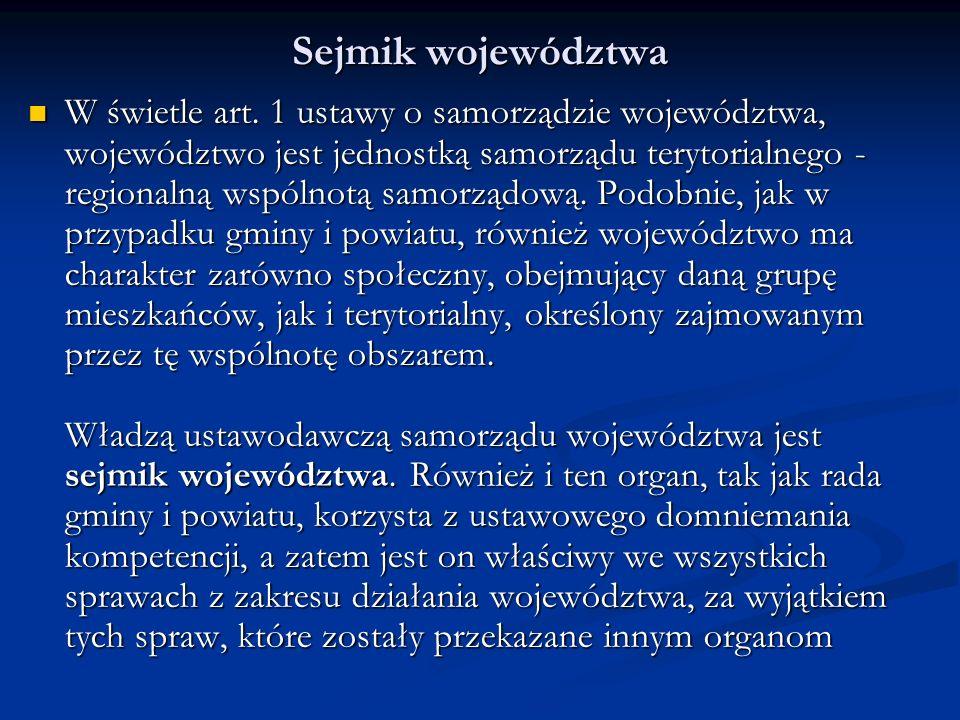 Sejmik województwa W świetle art.