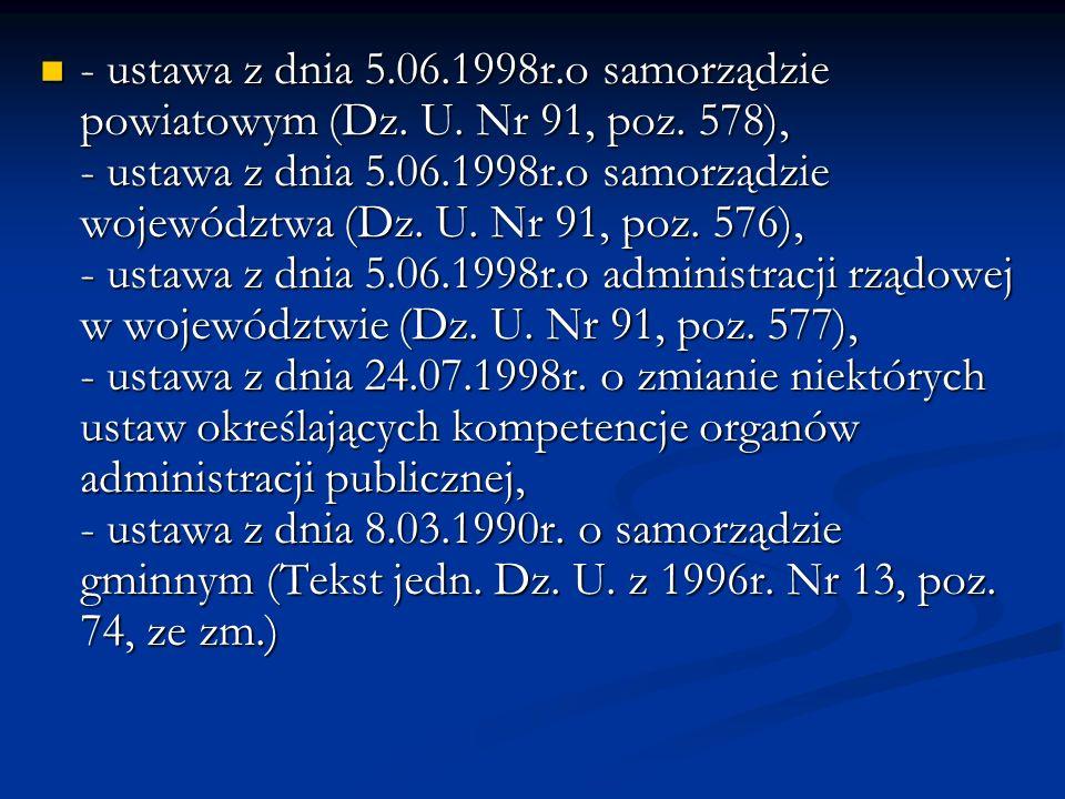 - ustawa z dnia 5.06.1998r.o samorządzie powiatowym (Dz.