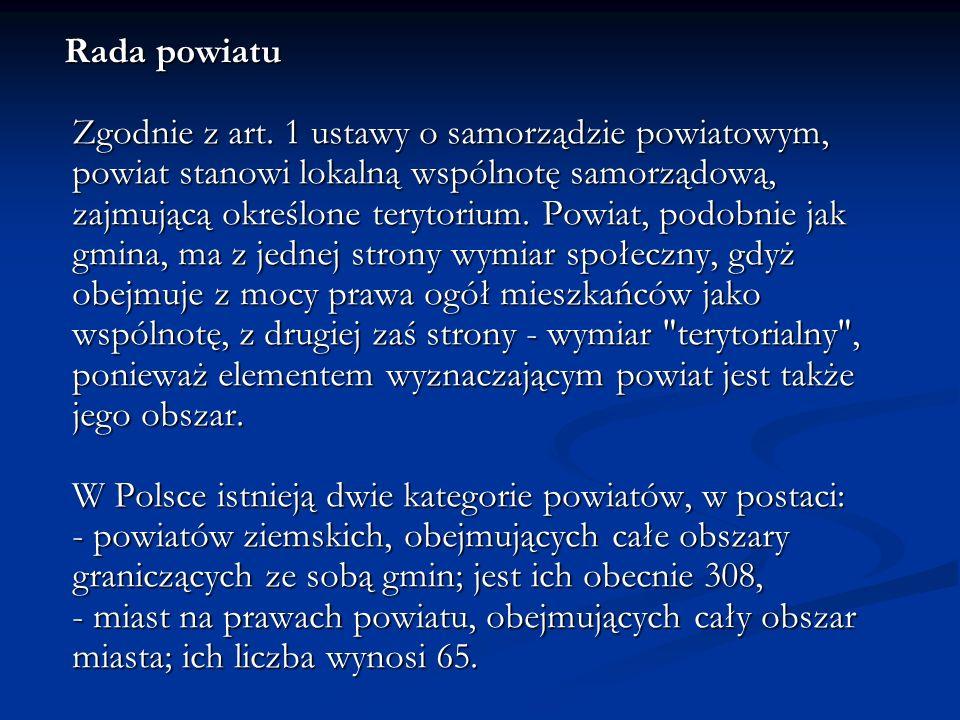 Rada powiatu Zgodnie z art.