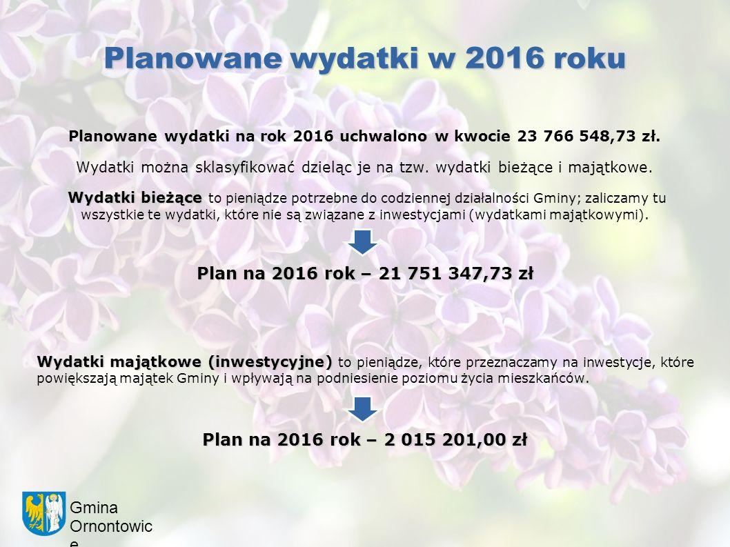 Gmina Ornontowic e Planowane wydatki w 2016 roku Planowane wydatki na rok 2016 uchwalono w kwocie 23 766 548,73 zł. Wydatki można sklasyfikować dzielą