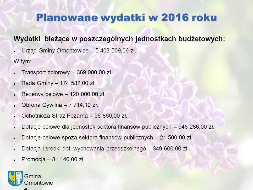 Gmina Ornontowic e Planowane wydatki w 2016 roku Wydatki bieżące w poszczególnych jednostkach budżetowych: Urząd Gminy Ornontowice - 5 403 509,06 zł.