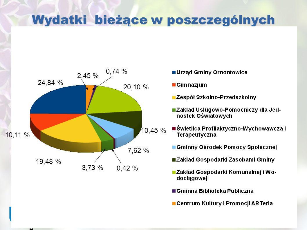 Gmina Ornontowic e Wydatki bieżące w poszczególnych jednostkach budżetowych 24,84 % 2,45 % 0,74 % 20,10 % 10,45 % 7,62 % 0,42 % 10,11 % 19,48 % 3,73 %
