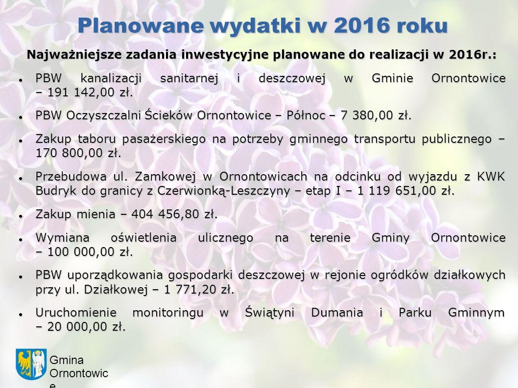 Gmina Ornontowic e Planowane wydatki w 2016 roku Najważniejsze zadania inwestycyjne planowane do realizacji w 2016r.: PBW kanalizacji sanitarnej i deszczowej w Gminie Ornontowice – 191 142,00 zł.