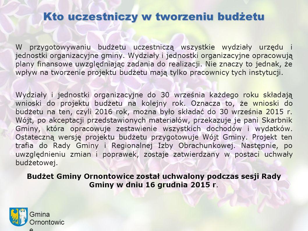 Gmina Ornontowic e Kto uczestniczy w tworzeniu budżetu W przygotowywaniu budżetu uczestniczą wszystkie wydziały urzędu i jednostki organizacyjne gminy.