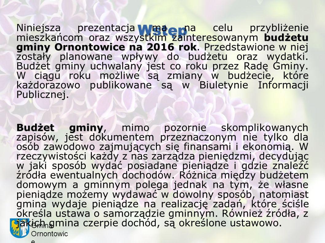 Gmina Ornontowic e Wstęp budżetu gminy Ornontowice na 2016 rok Niniejsza prezentacja ma na celu przybliżenie mieszkańcom oraz wszystkim zainteresowanym budżetu gminy Ornontowice na 2016 rok.