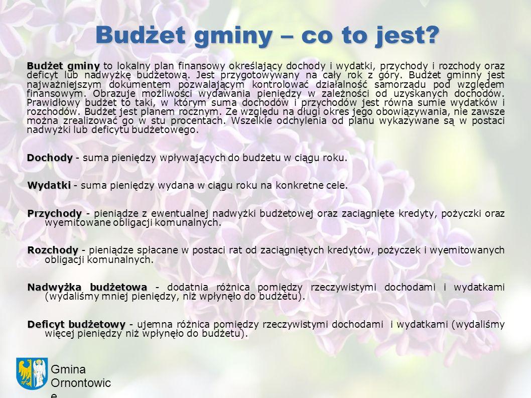 Gmina Ornontowic e Budżet gminy – co to jest? Budżet gminy Budżet gminy to lokalny plan finansowy określający dochody i wydatki, przychody i rozchody