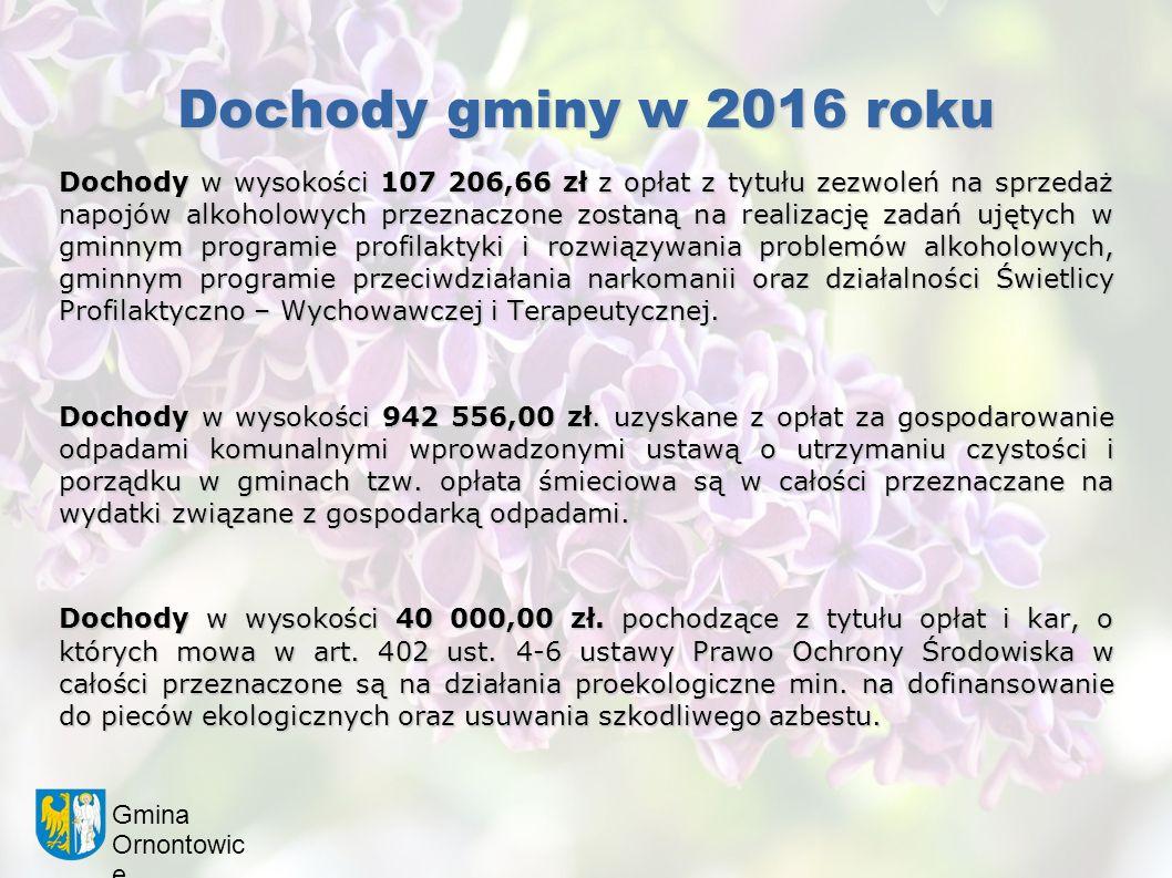 Gmina Ornontowic e Dochody gminy w 2016 roku Dochody w wysokości 107 206,66 zł z opłat z tytułu zezwoleń na sprzedaż napojów alkoholowych przeznaczone