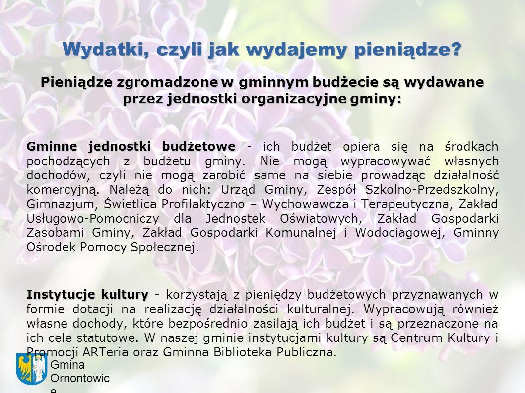 Gmina Ornontowic e Wydatki, czyli jak wydajemy pieniądze? Pieniądze zgromadzone w gminnym budżecie są wydawane przez jednostki organizacyjne gminy: Gm