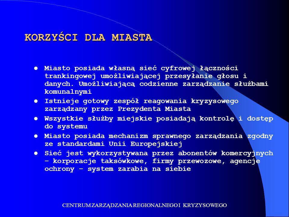 CENTRUM ZARZĄDZANIA REGIONALNEGO I KRYZYSOWEGO KORZYŚCI DLA MIASTA Miasto posiada własną sieć cyfrowej łączności trankingowej umożliwiającej przesyłanie głosu i danych.