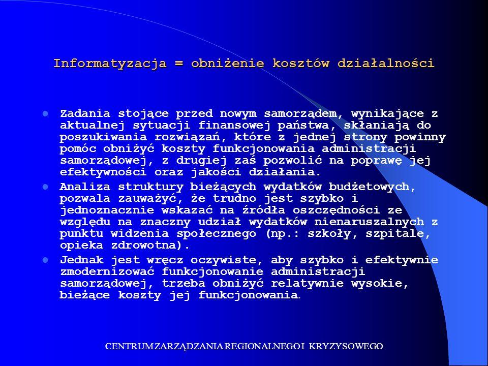 CENTRUM ZARZĄDZANIA REGIONALNEGO I KRYZYSOWEGO Centrum Zarządzania Regionalnego i Kryzysowego – tańsze rozwiązanie problemu W maju 2002 roku polski parlament uchwalił pakiet ustaw określających stany kryzysowe, wyjątkowe i wojenne państwa.