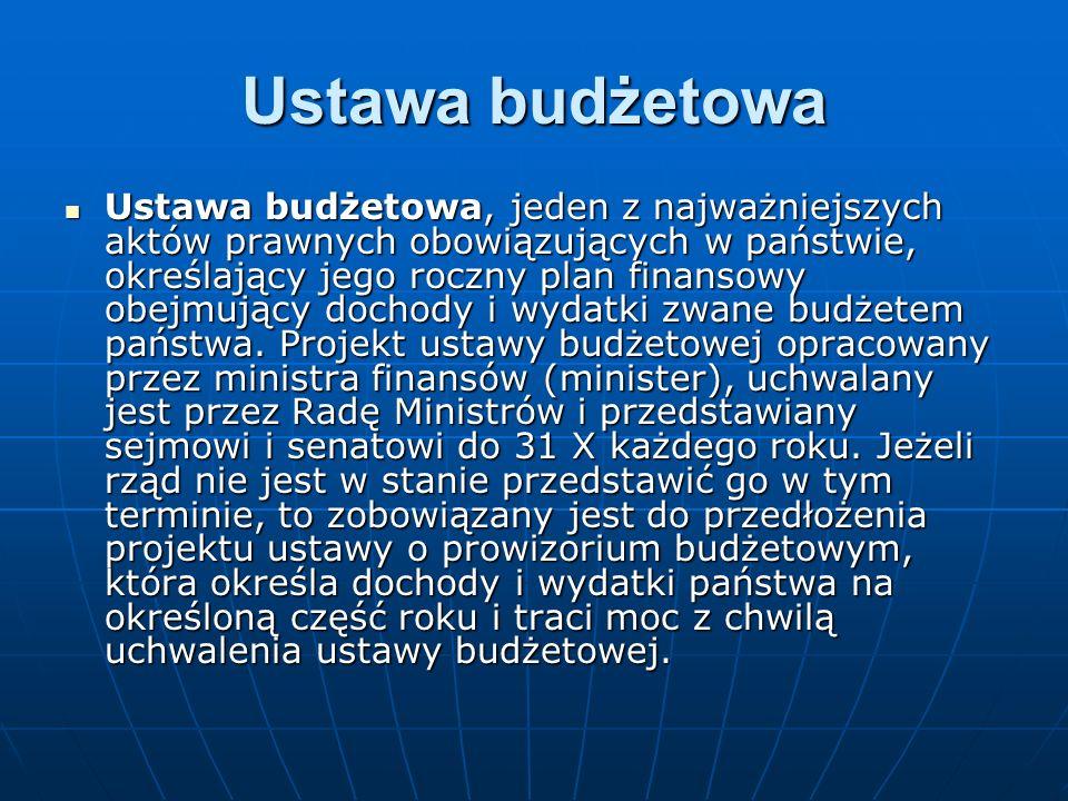 Ustawa budżetowa Ustawa budżetowa, jeden z najważniejszych aktów prawnych obowiązujących w państwie, określający jego roczny plan finansowy obejmujący dochody i wydatki zwane budżetem państwa.