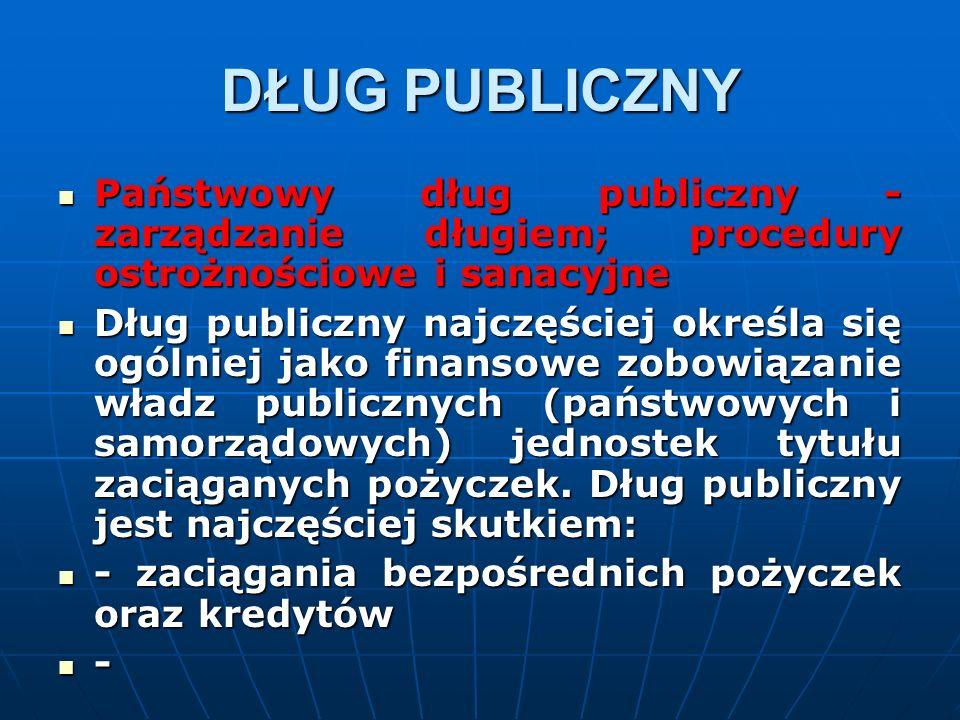 DŁUG PUBLICZNY Państwowy dług publiczny - zarządzanie długiem; procedury ostrożnościowe i sanacyjne Państwowy dług publiczny - zarządzanie długiem; procedury ostrożnościowe i sanacyjne Dług publiczny najczęściej określa się ogólniej jako finansowe zobowiązanie władz publicznych (państwowych i samorządowych) jednostek tytułu zaciąganych pożyczek.