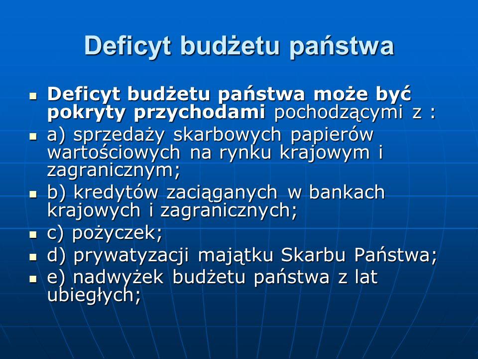 Deficyt budżetu państwa Deficyt budżetu państwa może być pokryty przychodami pochodzącymi z : Deficyt budżetu państwa może być pokryty przychodami pochodzącymi z : a) sprzedaży skarbowych papierów wartościowych na rynku krajowym i zagranicznym; a) sprzedaży skarbowych papierów wartościowych na rynku krajowym i zagranicznym; b) kredytów zaciąganych w bankach krajowych i zagranicznych; b) kredytów zaciąganych w bankach krajowych i zagranicznych; c) pożyczek; c) pożyczek; d) prywatyzacji majątku Skarbu Państwa; d) prywatyzacji majątku Skarbu Państwa; e) nadwyżek budżetu państwa z lat ubiegłych; e) nadwyżek budżetu państwa z lat ubiegłych;