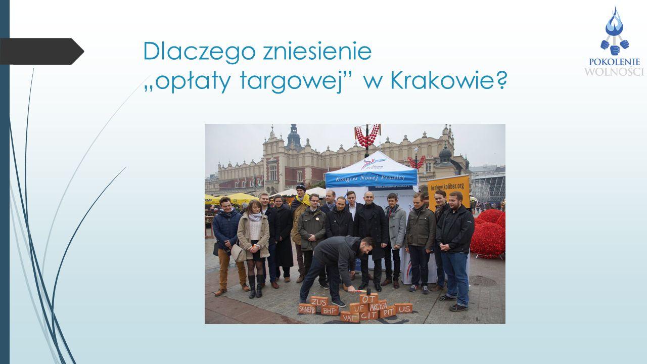 """Dlaczego zniesienie """"opłaty targowej w Krakowie"""