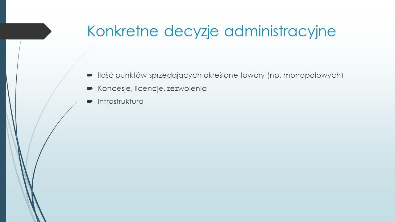 Konkretne decyzje administracyjne  Ilość punktów sprzedających określone towary (np.