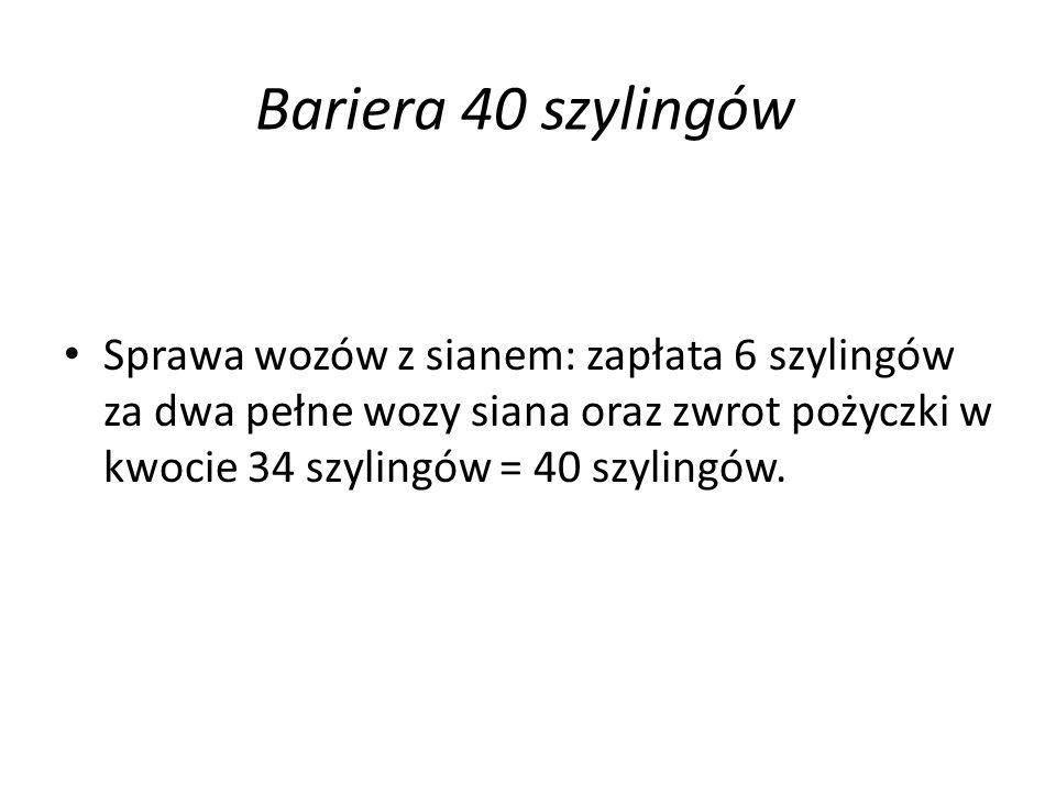 Bariera 40 szylingów Sprawa wozów z sianem: zapłata 6 szylingów za dwa pełne wozy siana oraz zwrot pożyczki w kwocie 34 szylingów = 40 szylingów.