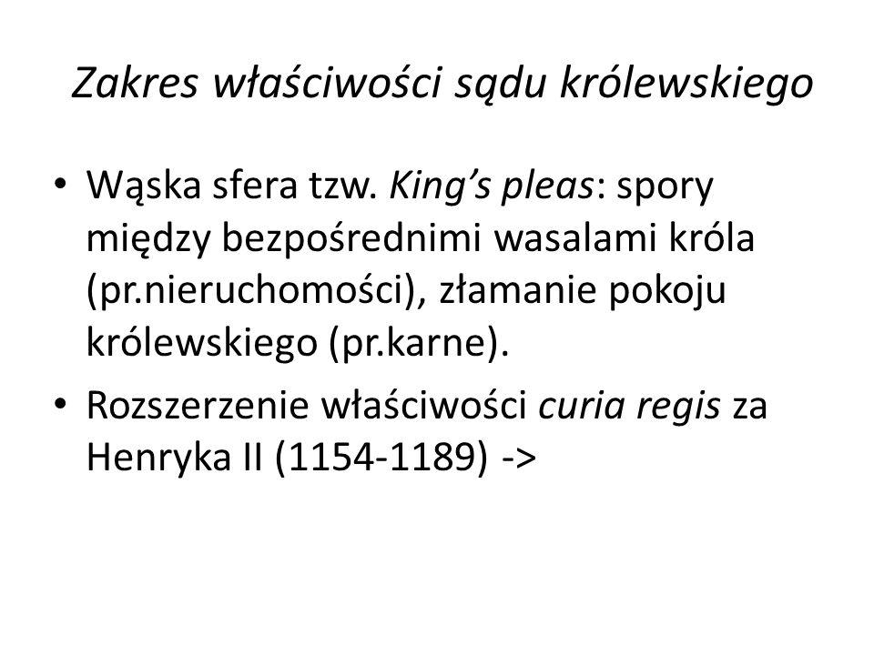 Zakres właściwości sądu królewskiego Wąska sfera tzw. King's pleas: spory między bezpośrednimi wasalami króla (pr.nieruchomości), złamanie pokoju król