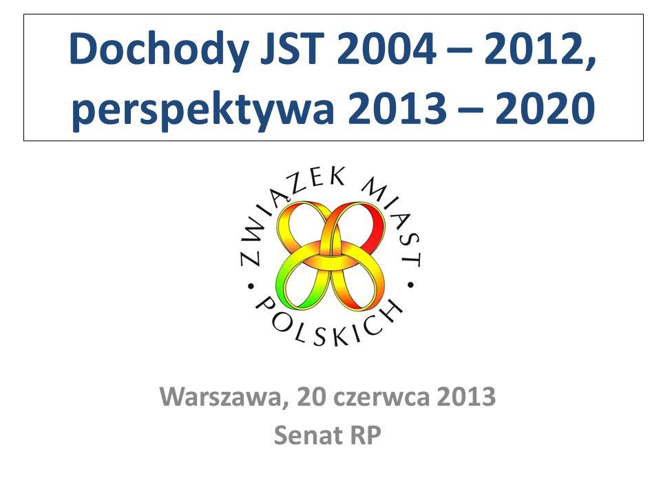 Dochody JST 2004 – 2012, perspektywa 2013 – 2020 Warszawa, 20 czerwca 2013 Senat RP