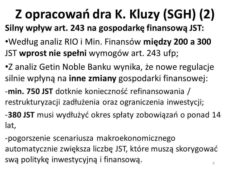 Z opracowań dra K. Kluzy (SGH) (2) 8 Silny wpływ art. 243 na gospodarkę finansową JST: Według analiz RIO i Min. Finansów między 200 a 300 JST wprost n