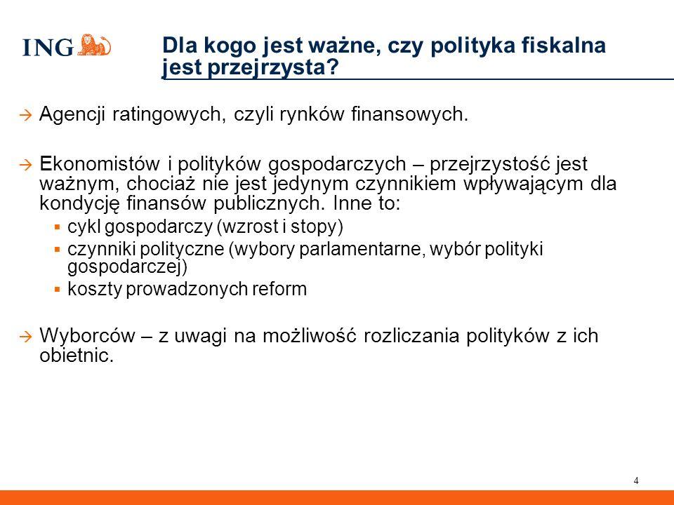 4 Dla kogo jest ważne, czy polityka fiskalna jest przejrzysta?  Agencji ratingowych, czyli rynków finansowych.  Ekonomistów i polityków gospodarczyc