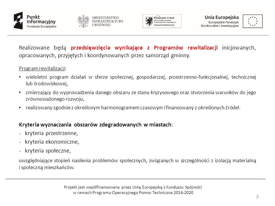 Projekt jest współfinansowany przez Unię Europejską z Funduszu Spójności w ramach Programu Operacyjnego Pomoc Techniczna 2014-2020 9 Realizowane będą przedsięwzięcia wynikające z Programów rewitalizacji inicjowanych, opracowanych, przyjętych i koordynowanych przez samorząd gminny.