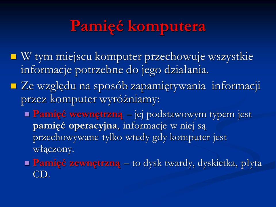 Pamięć komputera W tym miejscu komputer przechowuje wszystkie informacje potrzebne do jego działania. W tym miejscu komputer przechowuje wszystkie inf