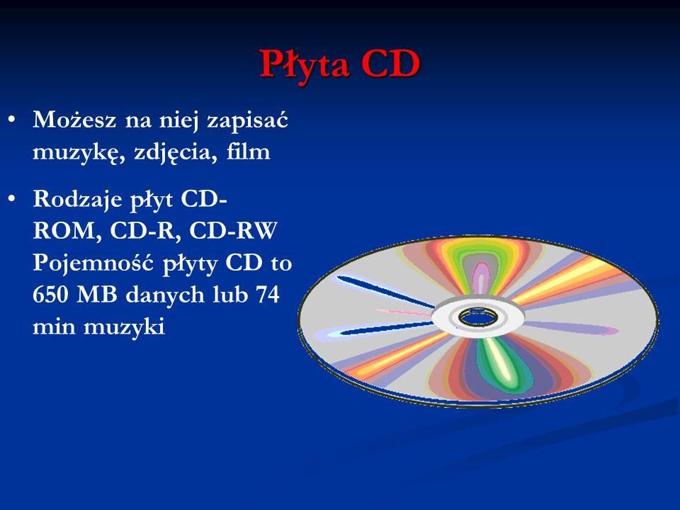 Płyta CD Możesz na niej zapisać muzykę, zdjęcia, film Rodzaje płyt CD- ROM, CD-R, CD-RW Pojemność płyty CD to 650 MB danych lub 74 min muzyki
