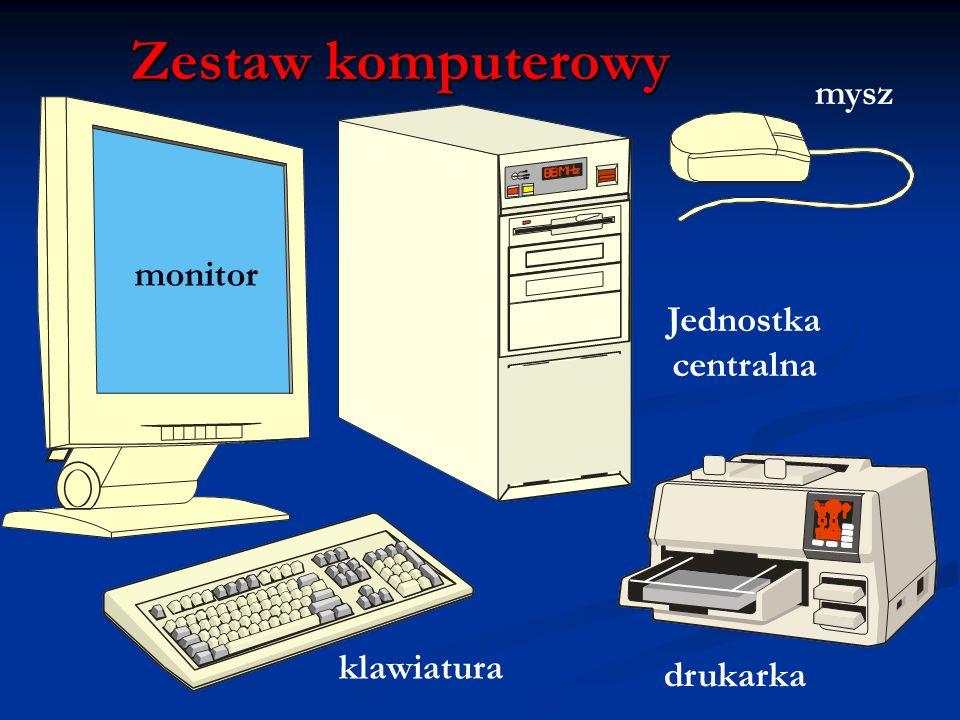 W obudowie jednostki centralnej znajdują się: W obudowie jednostki centralnej znajdują się: Dysk twardy Dysk twardy Stacja dyskietek Stacja dyskietek Napęd CD-ROM Napęd CD-ROM Znajduje się w niej płyta główna, na niej umieszczone są najważniejsze elementy komputera: Znajduje się w niej płyta główna, na niej umieszczone są najważniejsze elementy komputera: Procesor Procesor Pamięć operacyjna Pamięć operacyjna