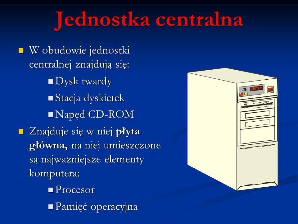 W obudowie jednostki centralnej znajdują się: W obudowie jednostki centralnej znajdują się: Dysk twardy Dysk twardy Stacja dyskietek Stacja dyskietek