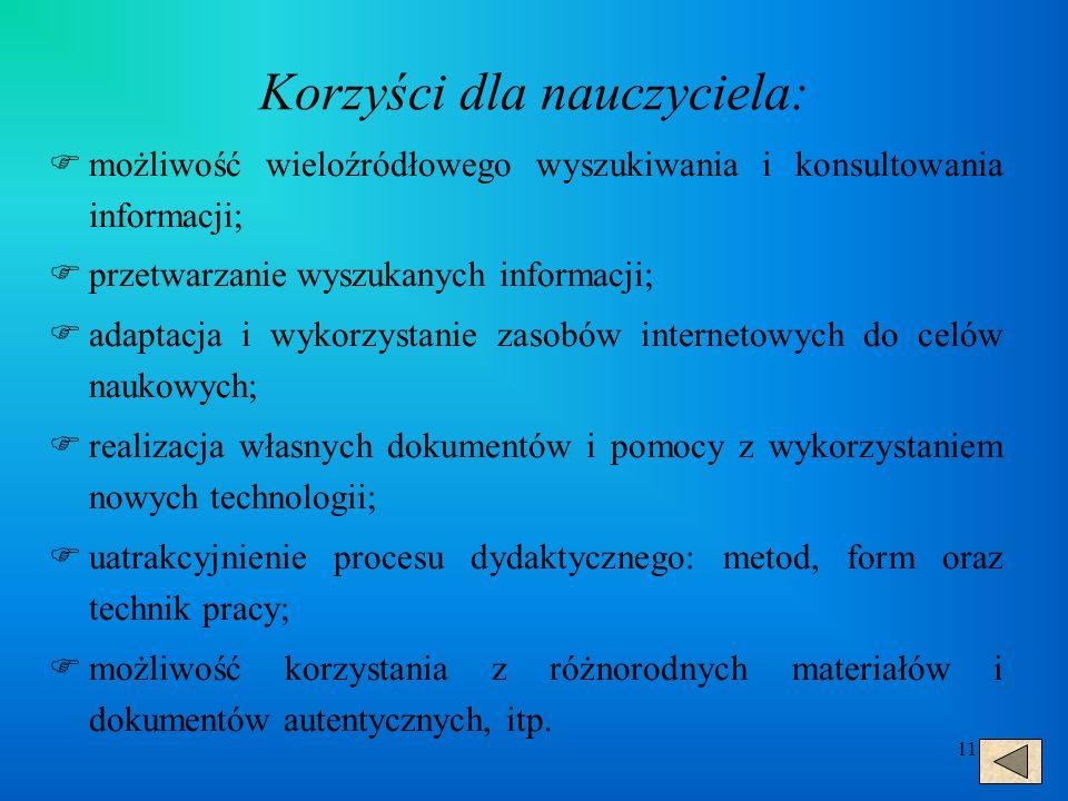 11 Korzyści dla nauczyciela:  możliwość wieloźródłowego wyszukiwania i konsultowania informacji;  przetwarzanie wyszukanych informacji;  adaptacja i wykorzystanie zasobów internetowych do celów naukowych;  realizacja własnych dokumentów i pomocy z wykorzystaniem nowych technologii;  uatrakcyjnienie procesu dydaktycznego: metod, form oraz technik pracy;  możliwość korzystania z różnorodnych materiałów i dokumentów autentycznych, itp.