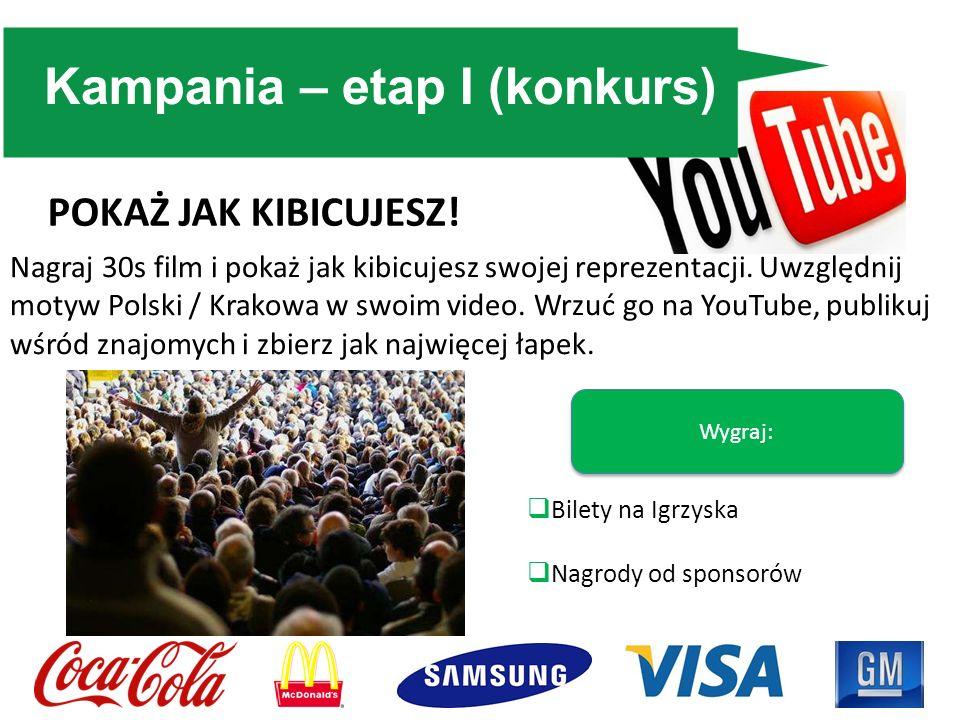 Kampania – etap I (konkurs) Nagraj 30s film i pokaż jak kibicujesz swojej reprezentacji. Uwzględnij motyw Polski / Krakowa w swoim video. Wrzuć go na