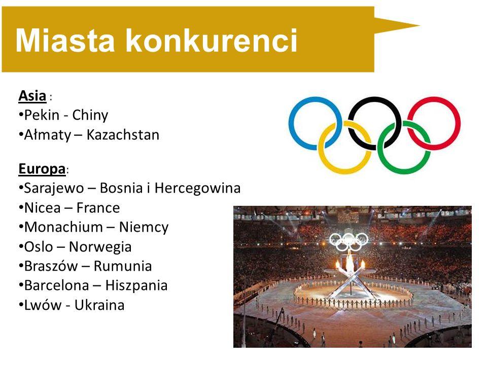 Miasta konkurenci Asia : Pekin - Chiny Ałmaty – Kazachstan Europa : Sarajewo – Bosnia i Hercegowina Nicea – France Monachium – Niemcy Oslo – Norwegia Braszów – Rumunia Barcelona – Hiszpania Lwów - Ukraina
