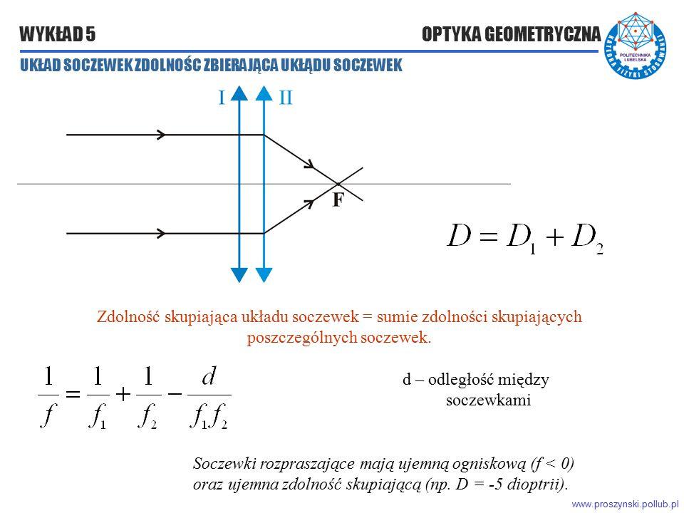 www.proszynski.pollub.pl WYKŁAD 5 OPTYKA GEOMETRYCZNA Zdolność skupiająca układu soczewek = sumie zdolności skupiających poszczególnych soczewek. d –