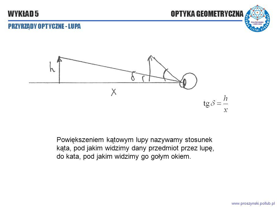 www.proszynski.pollub.pl WYKŁAD 5 OPTYKA GEOMETRYCZNA Powiększeniem kątowym lupy nazywamy stosunek kąta, pod jakim widzimy dany przedmiot przez lupę,