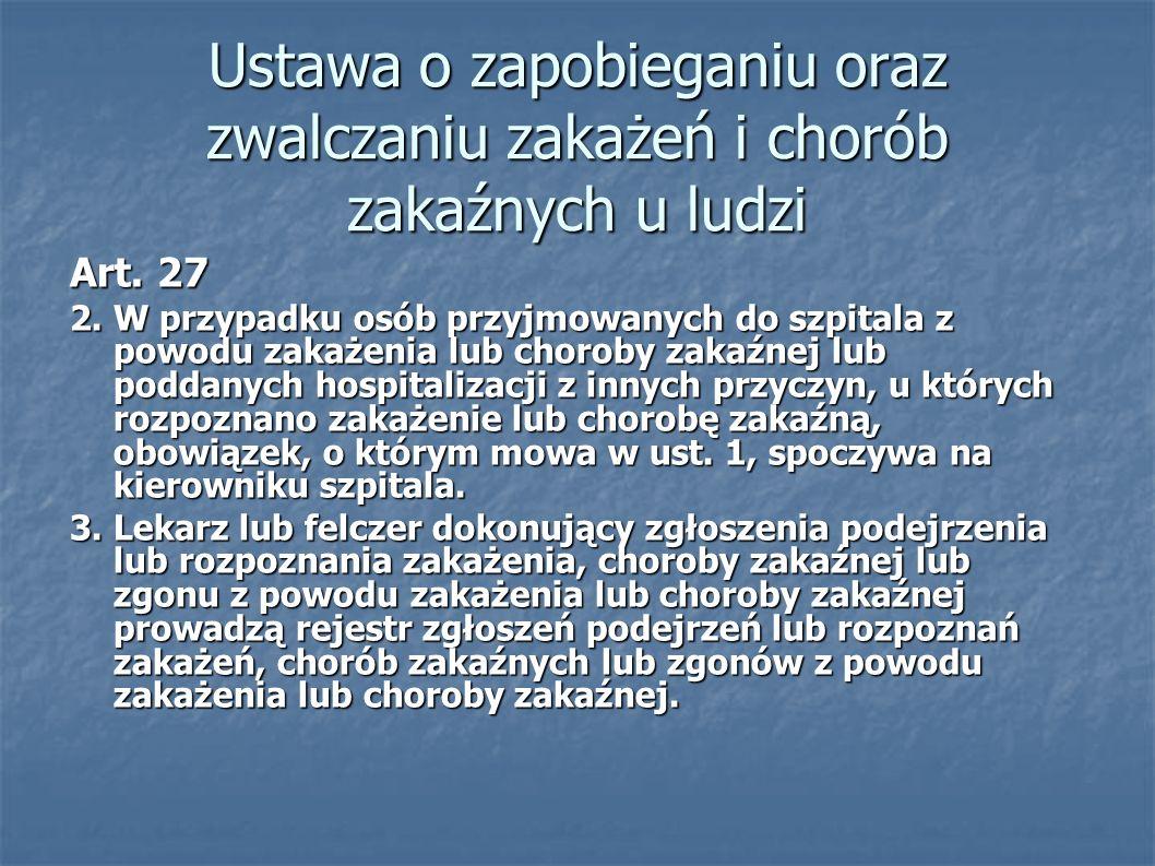 Ustawa o zapobieganiu oraz zwalczaniu zakażeń i chorób zakaźnych u ludzi Art. 27 2. W przypadku osób przyjmowanych do szpitala z powodu zakażenia lub