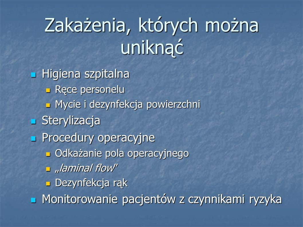 Zakażenia, których można uniknąć Higiena szpitalna Higiena szpitalna Ręce personelu Ręce personelu Mycie i dezynfekcja powierzchni Mycie i dezynfekcja