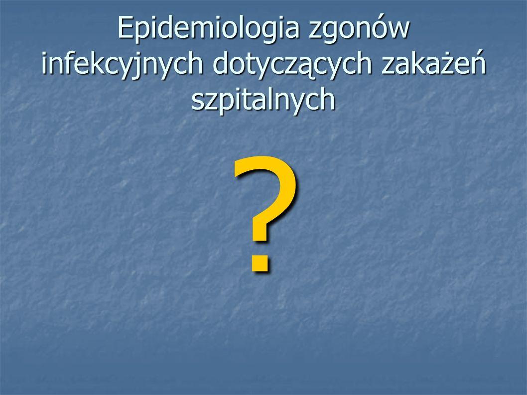 Epidemiologia zgonów infekcyjnych dotyczących zakażeń szpitalnych ?
