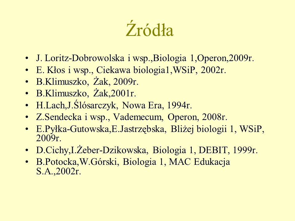Źródła J. Loritz-Dobrowolska i wsp.,Biologia 1,Operon,2009r.J. Loritz-Dobrowolska i wsp.,Biologia 1,Operon,2009r. E. Kłos i wsp., Ciekawa biologia1,WS