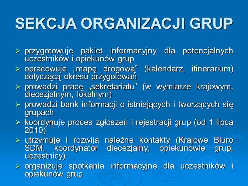 """SEKCJA ORGANIZACJI GRUP  przygotowuje pakiet informacyjny dla potencjalnych uczestników i opiekunów grup  opracowuje """"mapę drogową"""" (kalendarz, itin"""