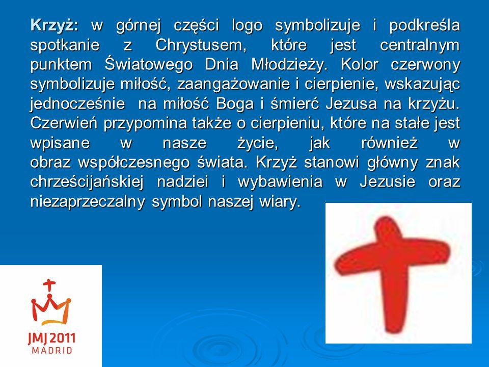 Krzyż: w górnej części logo symbolizuje i podkreśla spotkanie z Chrystusem, które jest centralnym punktem Światowego Dnia Młodzieży. Kolor czerwony sy