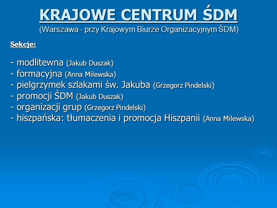 (Warszawa - przy Krajowym Biurze Organizacyjnym ŚDM) KRAJOWE CENTRUM ŚDM Sekcje: Sekcje: - modlitewna (Jakub Duszak) - formacyjna (Anna Milewska) - pi