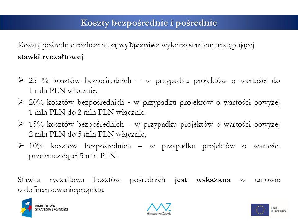 Koszty bezpośrednie i pośrednie Koszty pośrednie rozliczane są wyłącznie z wykorzystaniem następującej stawki ryczałtowej:  25 % kosztów bezpośrednich – w przypadku projektów o wartości do 1 mln PLN włącznie,  20% kosztów bezpośrednich ‐ w przypadku projektów o wartości powyżej 1 mln PLN do 2 mln PLN włącznie.