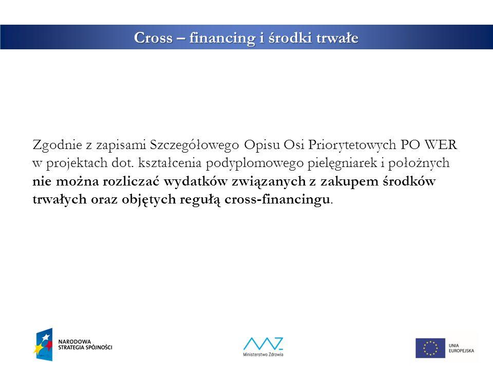 Cross – financing i środki trwałe Zgodnie z zapisami Szczegółowego Opisu Osi Priorytetowych PO WER w projektach dot. kształcenia podyplomowego pielęgn