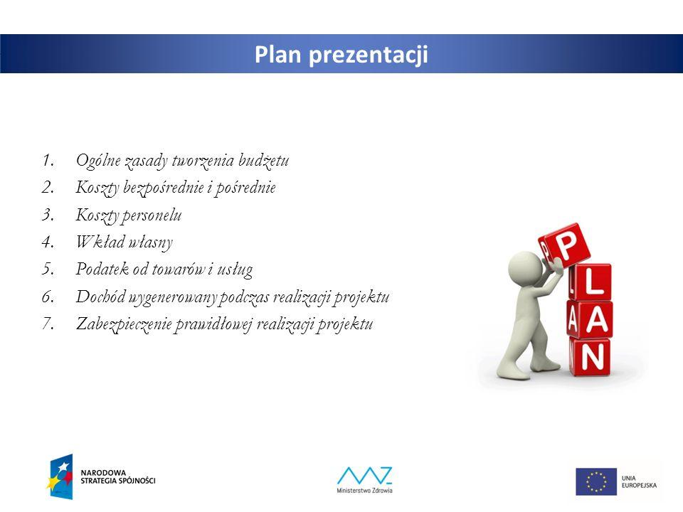 2 Plan prezentacji 1.Ogólne zasady tworzenia budżetu 2.Koszty bezpośrednie i pośrednie 3.Koszty personelu 4.Wkład własny 5.Podatek od towarów i usług 6.Dochód wygenerowany podczas realizacji projektu 7.Zabezpieczenie prawidłowej realizacji projektu
