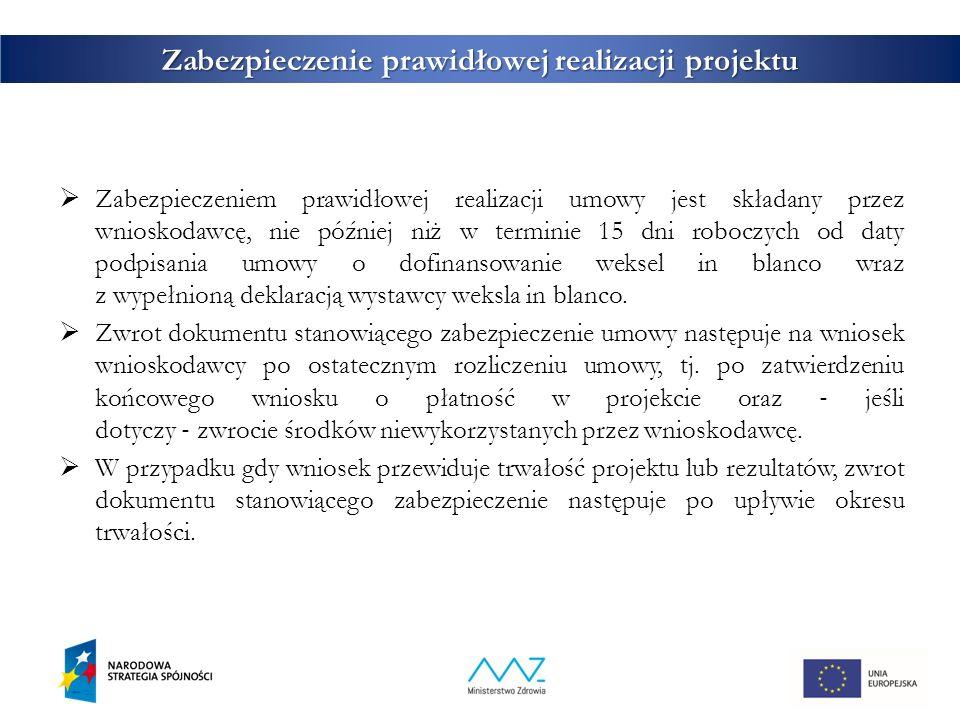 31 Zabezpieczenie prawidłowej realizacji projektu  Zabezpieczeniem prawidłowej realizacji umowy jest składany przez wnioskodawcę, nie później niż w t