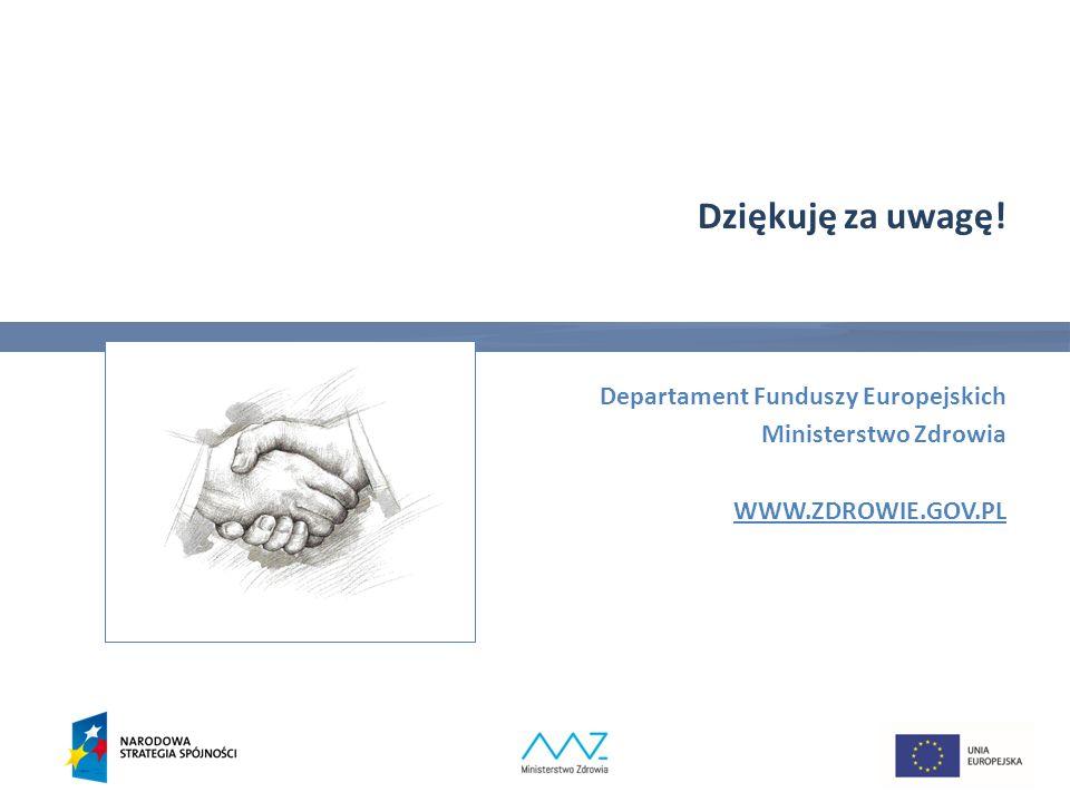 Dziękuję za uwagę! Departament Funduszy Europejskich Ministerstwo Zdrowia WWW.ZDROWIE.GOV.PL 32