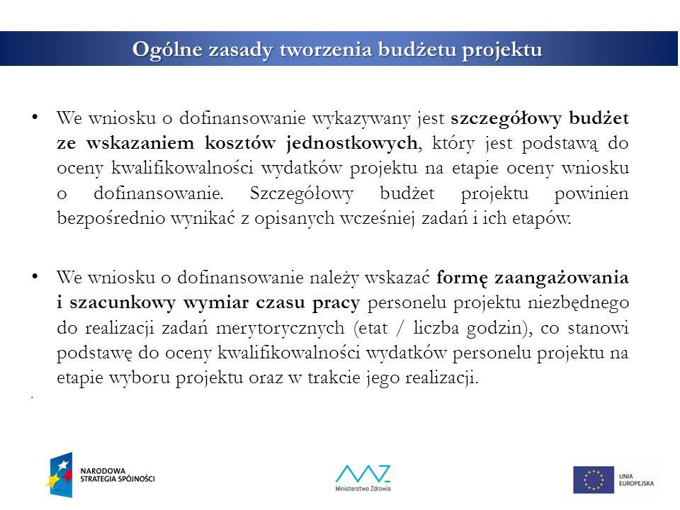 4 Ogólne zasady tworzenia budżetu projektu We wniosku o dofinansowanie wykazywany jest szczegółowy budżet ze wskazaniem kosztów jednostkowych, który jest podstawą do oceny kwalifikowalności wydatków projektu na etapie oceny wniosku o dofinansowanie.