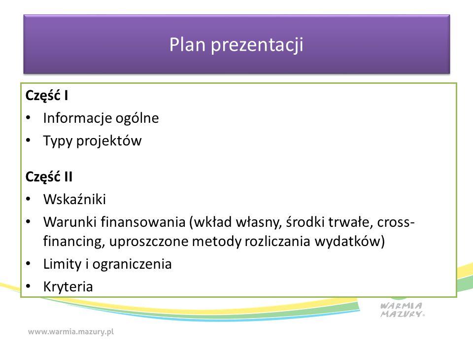 Plan prezentacji Część I Informacje ogólne Typy projektów Część II Wskaźniki Warunki finansowania (wkład własny, środki trwałe, cross- financing, uproszczone metody rozliczania wydatków) Limity i ograniczenia Kryteria