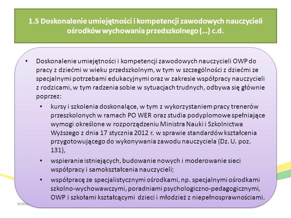 1.5 Doskonalenie umiejętności i kompetencji zawodowych nauczycieli ośrodków wychowania przedszkolnego (…) c.d.