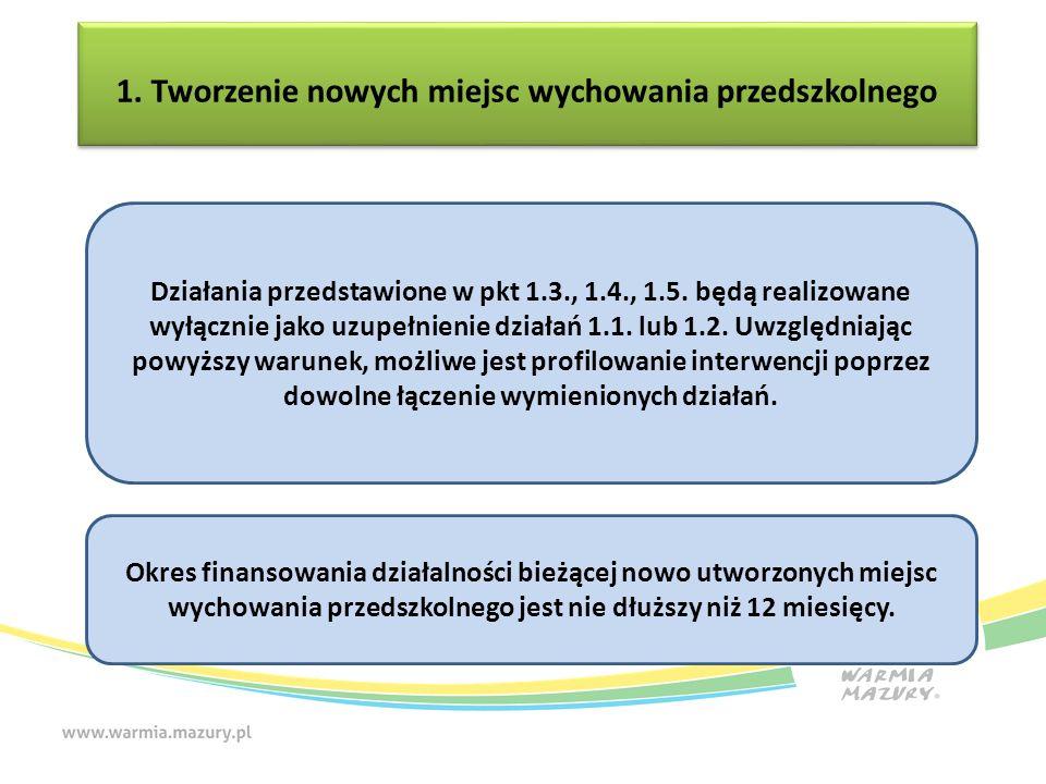 1. Tworzenie nowych miejsc wychowania przedszkolnego 1. Tworzenie nowych miejsc wychowania przedszkolnego Działania przedstawione w pkt 1.3., 1.4., 1.